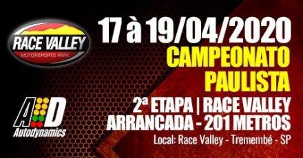 Campeonato Paulista de Arrancada 2020 - 2ª Etapa - 17/04/2020 a 19/04/2020 - Race Valley - Tremembé - SP - 201 Metros
