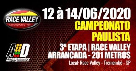 Campeonato Paulista de Arrancada 2020 - 3ª Etapa - 12/06/2020 a 14/06/2020 - Race Valley - Tremembé - SP - 201 Metros