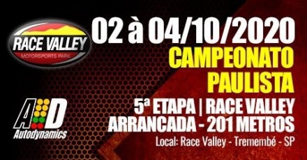 Campeonato Paulista de Arrancada 2020 - 5ª Etapa - 02/10/2020 a 04/10/2020 - Race Valley - Tremembé - SP - 201 Metros